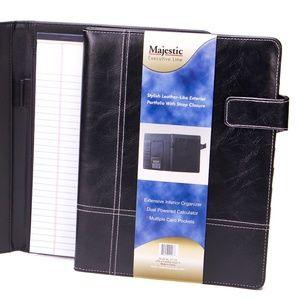 Majestic Goods Black Leather Portfolio w/ Strap